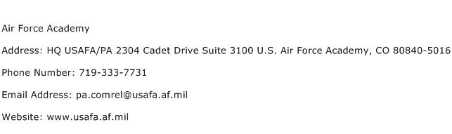 Air Force Academy Address Contact Number
