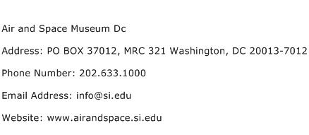 Air and Space Museum Dc Address Contact Number
