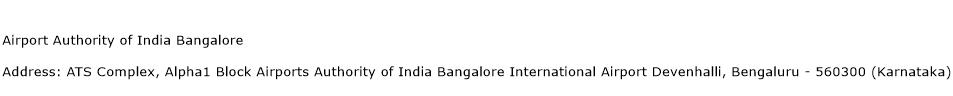 Airport Authority of India Bangalore Address Contact Number