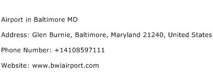 Airport in Baltimore MD Address Contact Number