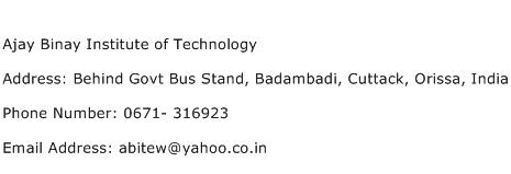 Ajay Binay Institute of Technology Address Contact Number