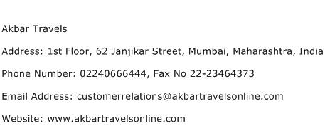 Akbar Travels Address Contact Number