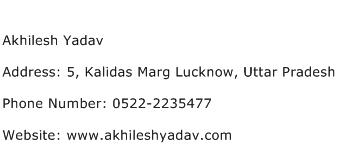 Akhilesh Yadav Address Contact Number