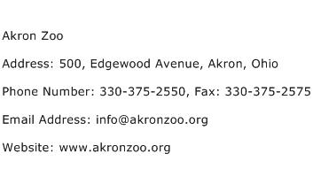 Akron Zoo Address Contact Number