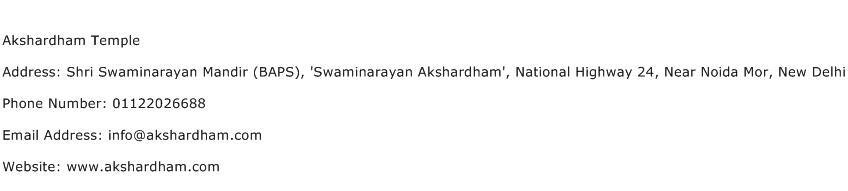 Akshardham Temple Address Contact Number