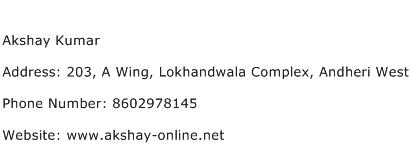 Akshay Kumar Address Contact Number