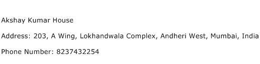 Akshay Kumar House Address Contact Number