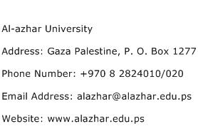 Al azhar University Address Contact Number