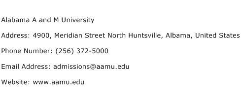 Alabama A and M University Address Contact Number