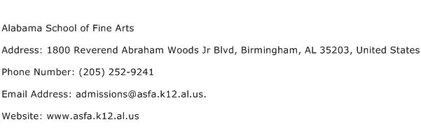 Alabama School of Fine Arts Address Contact Number