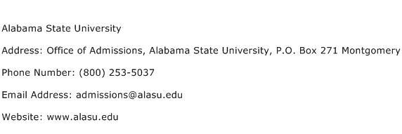 Alabama State University Address Contact Number