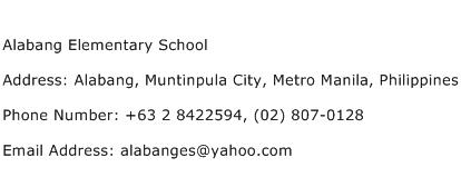 Alabang Elementary School Address Contact Number