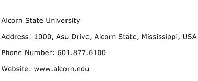 Alcorn State University Address Contact Number