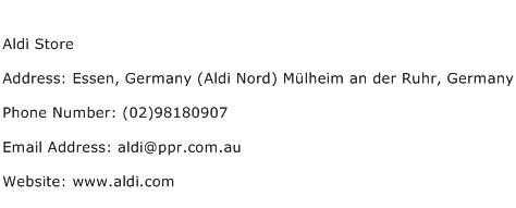 Aldi Store Address Contact Number