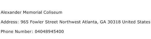 Alexander Memorial Coliseum Address Contact Number