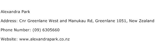 Alexandra Park Address Contact Number