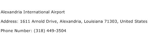 Alexandria International Airport Address Contact Number