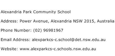 Alexandria Park Community School Address Contact Number