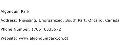 Algonquin Park Address Contact Number