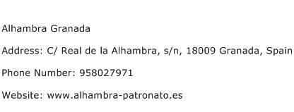 Alhambra Granada Address Contact Number