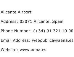 Alicante Airport Address Contact Number