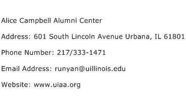 Alice Campbell Alumni Center Address Contact Number