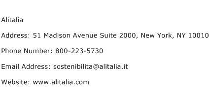 Alitalia Address Contact Number