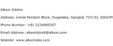 Alkem Sikkim Address Contact Number