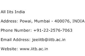All Iits India Address Contact Number
