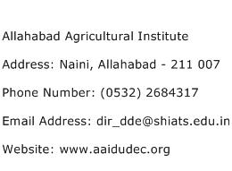 Allahabad Agricultural Institute Address Contact Number