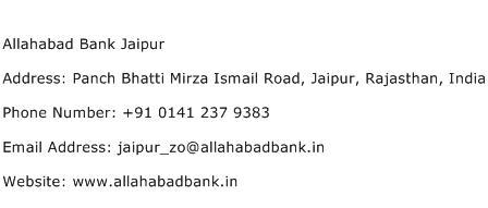 Allahabad Bank Jaipur Address Contact Number