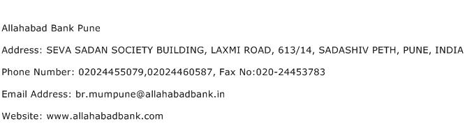 Allahabad Bank Pune Address Contact Number