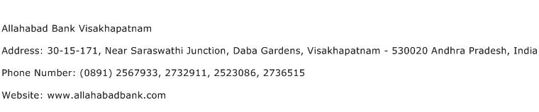Allahabad Bank Visakhapatnam Address Contact Number