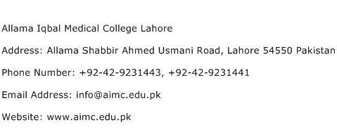 Allama Iqbal Medical College Lahore Address Contact Number