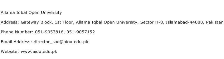 Allama Iqbal Open University Address Contact Number
