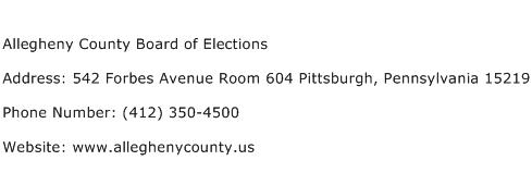Allegheny County Board of Elections Address Contact Number