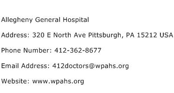 Allegheny General Hospital Address Contact Number