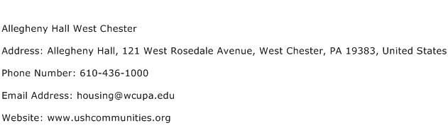 Allegheny Hall West Chester Address Contact Number