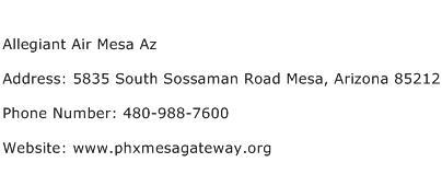 Allegiant Air Mesa Az Address Contact Number
