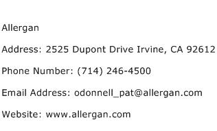 Allergan Address Contact Number