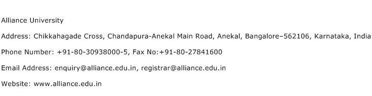Alliance University Address Contact Number