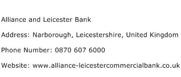 Alliance and Leicester Bank Address Contact Number