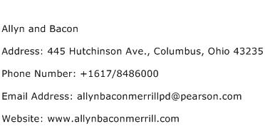 Allyn and Bacon Address Contact Number