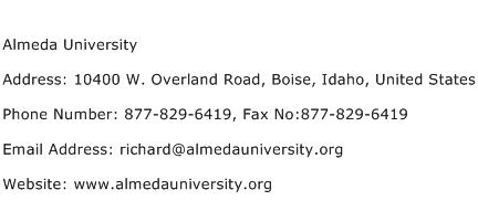 Almeda University Address Contact Number