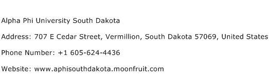 Alpha Phi University South Dakota Address Contact Number
