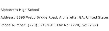 Alpharetta High School Address Contact Number
