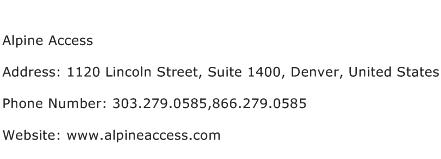 Alpine Access Address Contact Number