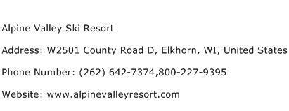 Alpine Valley Ski Resort Address Contact Number