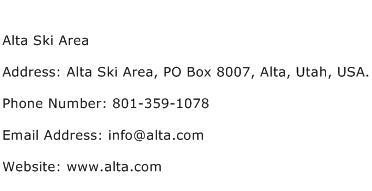 Alta Ski Area Address Contact Number