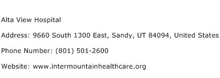 Alta View Hospital Address Contact Number